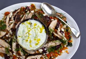 Gorgeous greek chicken with herby vegetable couscous & tzatziki : Fresh Mediterranean flavours
