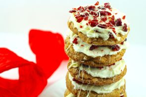 Stack of Cranberry Bliss cookies