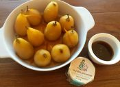 Mead poached pears with syrup reduction and La Petite Princesse Camembert