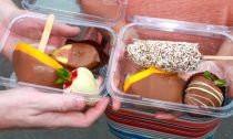 Chocolate covered mango, strawberries, banana and fig