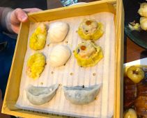 Mixed dumpling platter just above half-duck with lychees