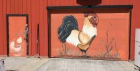 Rooster and chick identify Watersong Farms' chicken barn.