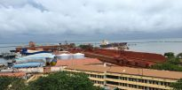 Bauxite stores ready for loading and shipping