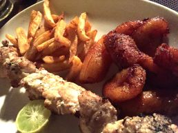 Fish kebab and plantains/fries