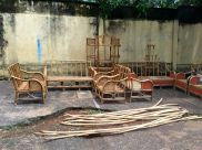 Bamboo furniture constructed on the roadside
