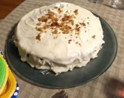 Cream cheese icing on the finished product