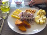 Cassava, sweet potato, dried and boiled corn along with fresh ceviche